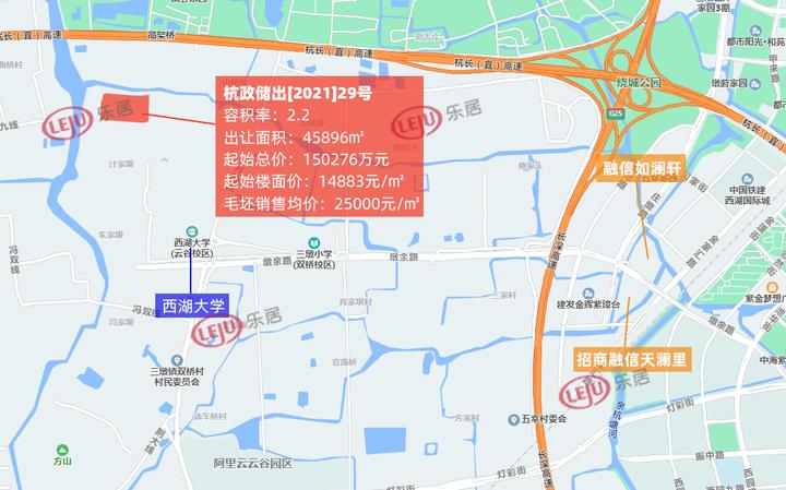 土拍快讯|14883元/㎡!杭州西投底价竞得杭政储出29号地块
