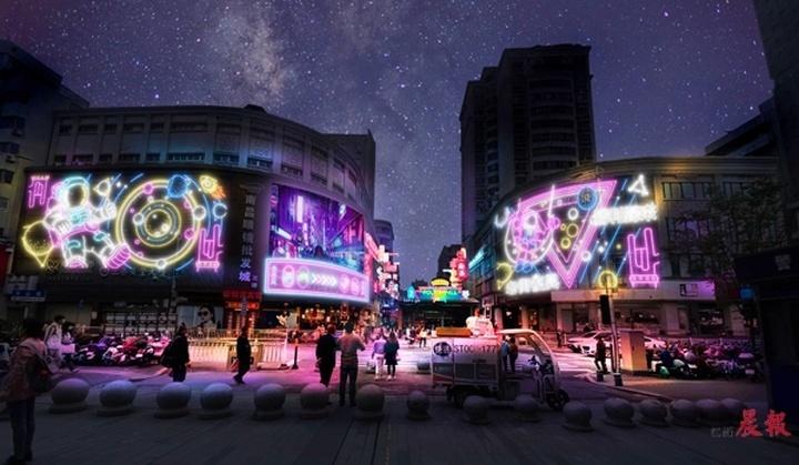 """南昌胜利路步行街""""五一""""全新亮相 改造后将主打赛博朋克风"""