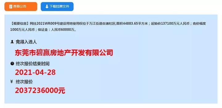 20761元/㎡!46家火拼!碧桂园以20亿元斩获万江4万㎡靓地