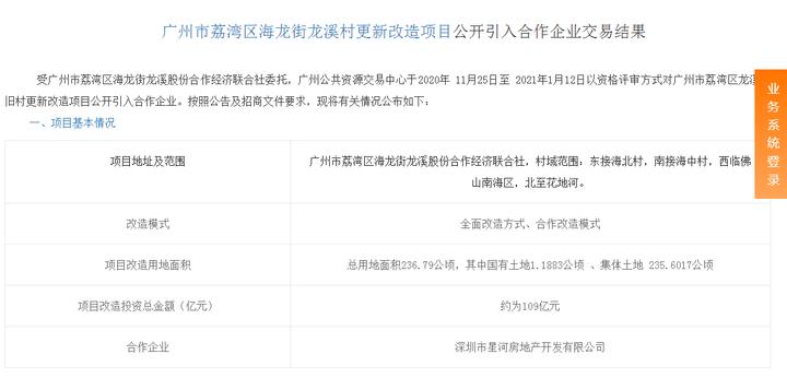 236.79万㎡!星河109亿拿下荔湾龙溪村旧改