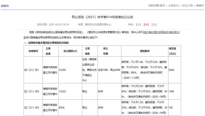 贵阳清镇逾5万方商住土地挂牌!单宗最高起始价11525万元