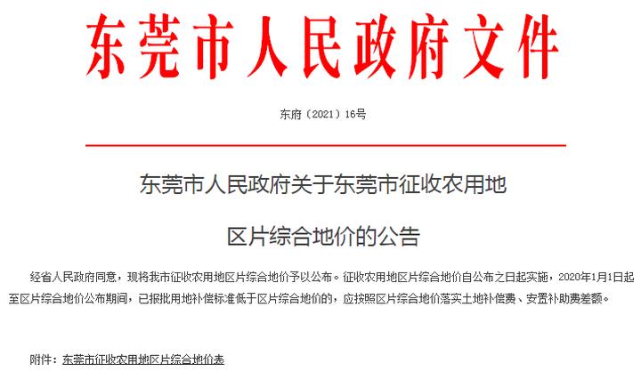 东莞公布最新农用地征收价格!最高19.2万/亩!