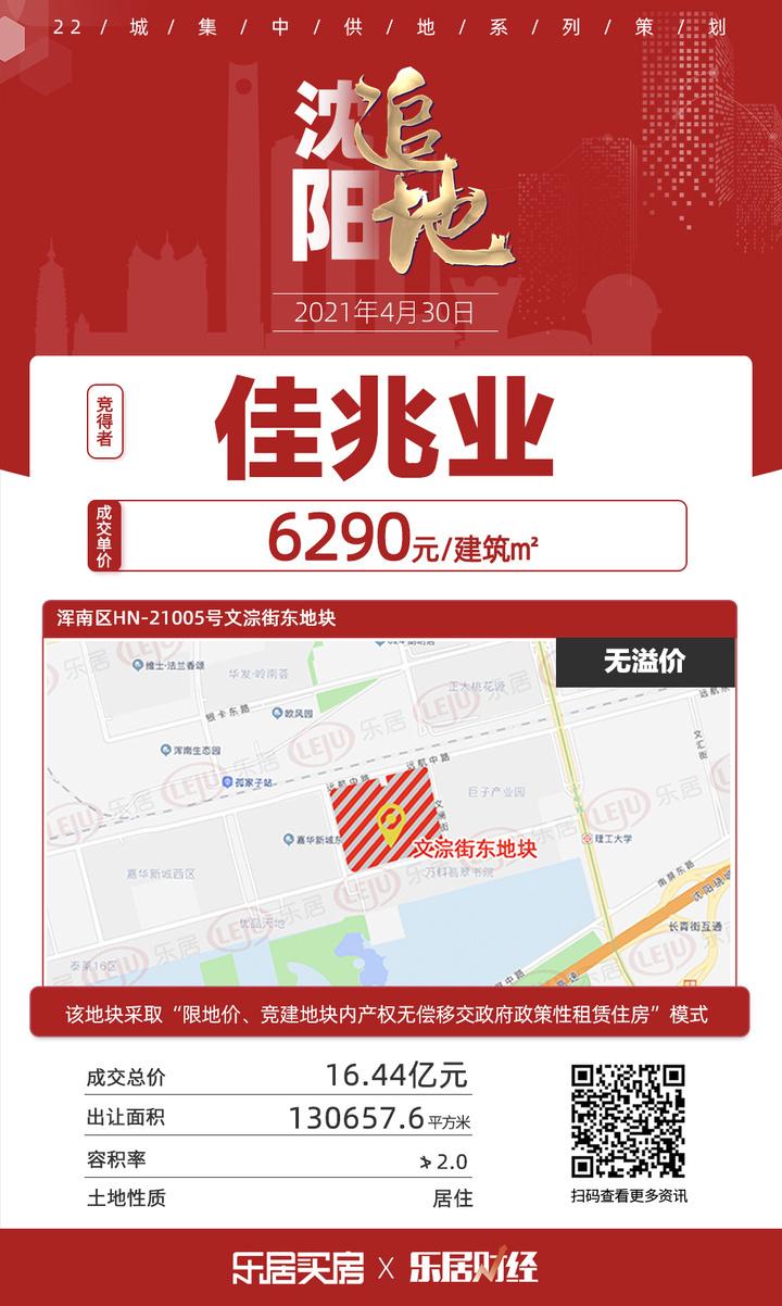 土拍快讯|楼面价6290元/㎡!佳兆业16.44亿夺浑南文淙街东地块