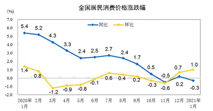 国家统计局发布2021年1月CPI数据 居住价格环比微增0.1%