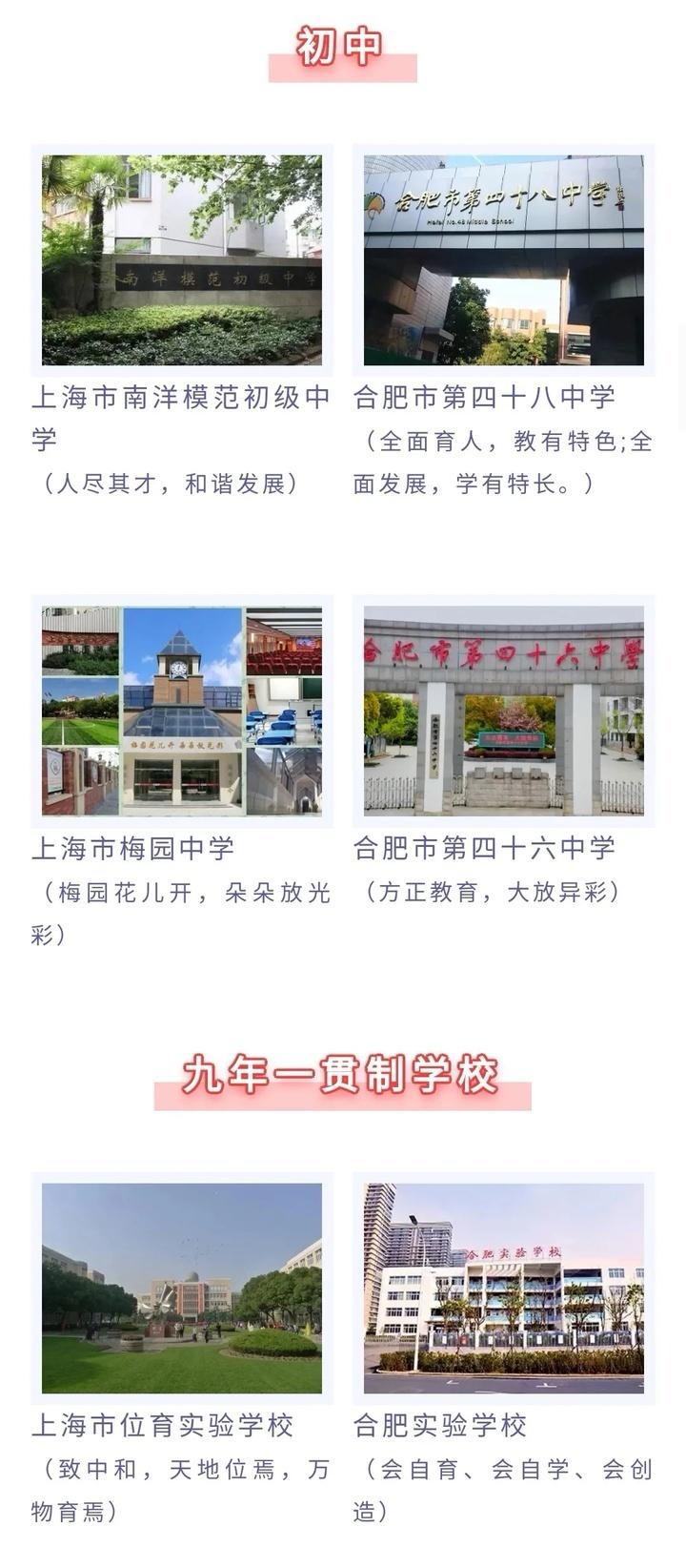 官宣!上海8所名校牵手合肥!