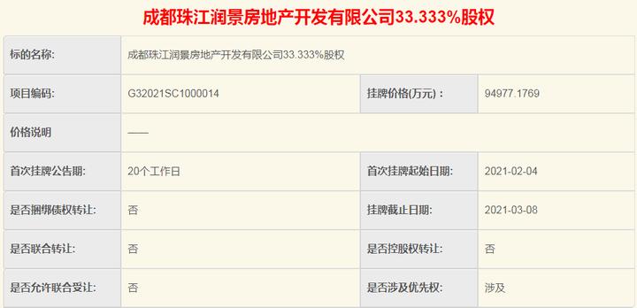 挂牌价9.49亿!温江一房企转让33.333%股权
