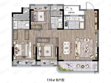 远洋红星扬州天铂3室2厅2卫户型图