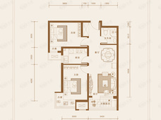 K2十里春风2室2厅1卫户型图