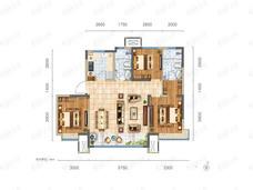 鸿坤理想城3室2厅2卫户型图