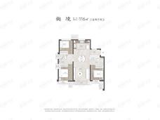 中海十里观澜3室2厅2卫户型图
