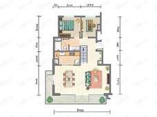 万科弗农小镇3室2厅2卫户型图