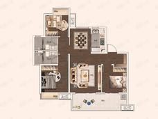 保利堂悦3室2厅2卫户型图