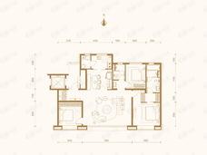 上东金茂府3室2厅2卫户型图