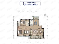 绿地湘江城际空间站4室2厅2卫户型图