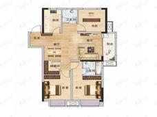 现代森林国际城3室2厅2卫户型图