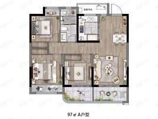 远洋红星扬州天铂3室2厅1卫户型图