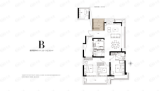 保利天汇3室2厅2卫户型图