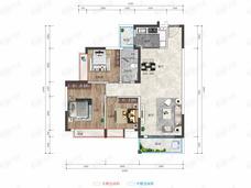 海垦·桃花源3室2厅1卫户型图