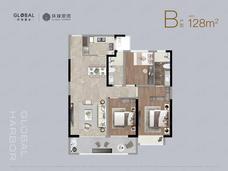 环球港湾3室2厅2卫户型图