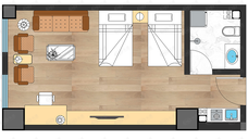 东景里公寓1室1厅1卫户型图