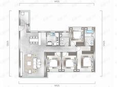 中海汇德里4室2厅2卫户型图
