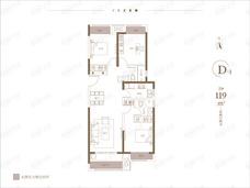 朗悦公园府3室2厅2卫户型图