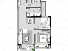 碧桂园·云境2室2厅1卫户型图
