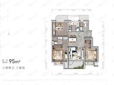 公园都会3室2厅2卫户型图
