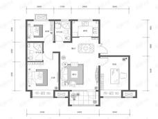 K2十里春风3室2厅2卫户型图