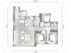 中海汇德里3室2厅2卫户型图
