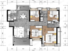 雅居乐乐活新城3室2厅2卫户型图
