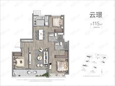 景业龙光玖云府3室2厅2卫户型图