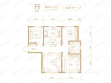 天津中冶德贤华府3室2厅1卫户型图