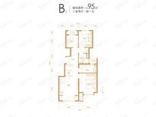 融创·湖岸壹号3室2厅1卫户型图