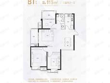 北外滩水城滨江雅园3室2厅1卫户型图