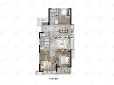 碧桂园招商珺悦家园3室2厅2卫户型图