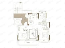 观江海3室2厅1卫户型图