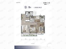 龙湖中天·天玥3室2厅2卫户型图