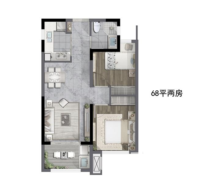 68㎡两室两厅一卫户型图