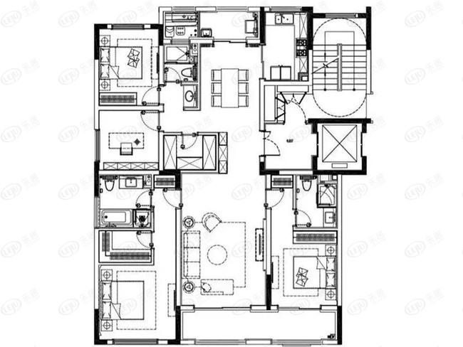 约177平4室2厅3卫A户型