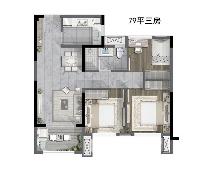 79㎡三室两厅一卫户型图