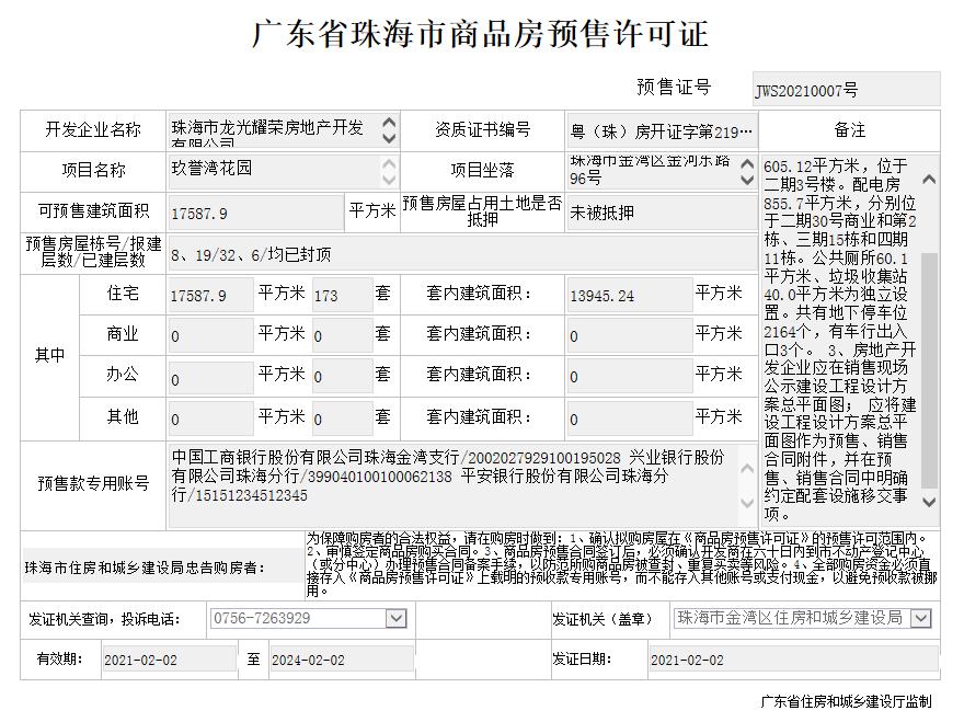 玖誉湾花园173套住宅取证!