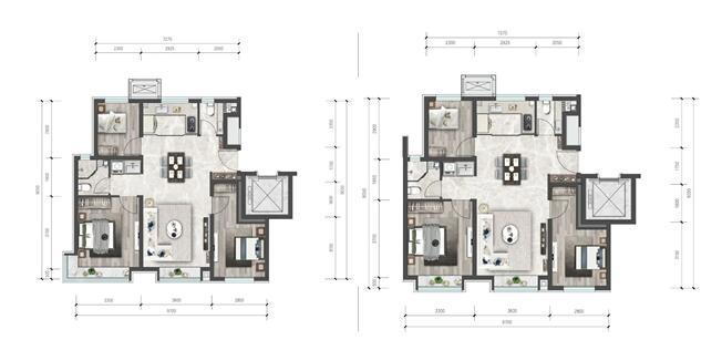 90平三居户型图(点开可放大)