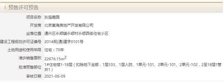 北京·东湾获预售许可预告