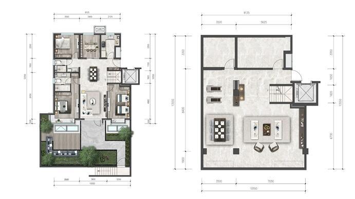 建面约284平花园跃墅户型图(点开可放大)