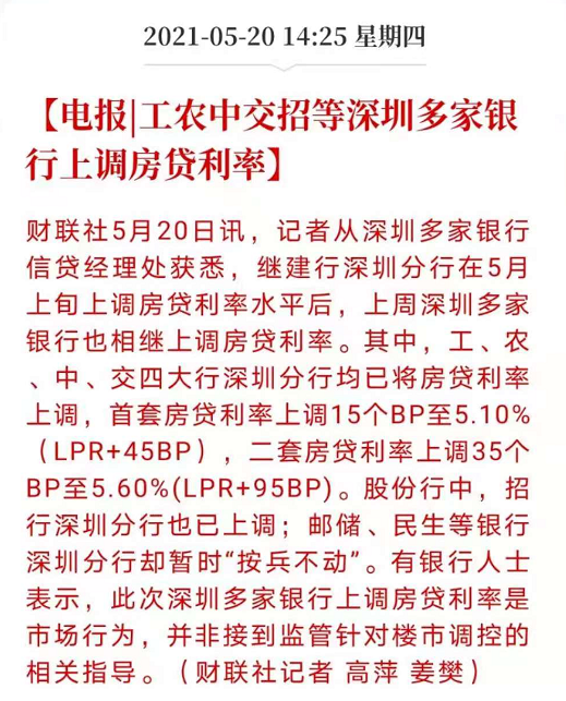 五大行+招行,深圳房贷利率大范围上调!