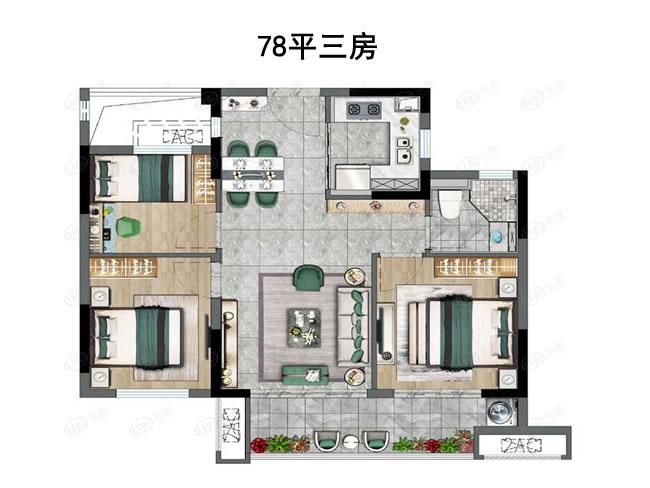 建面约78平三房
