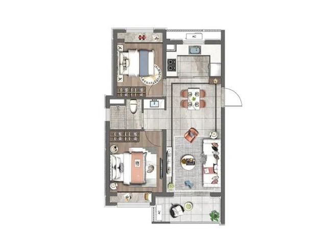建面约71平2室2厅1卫