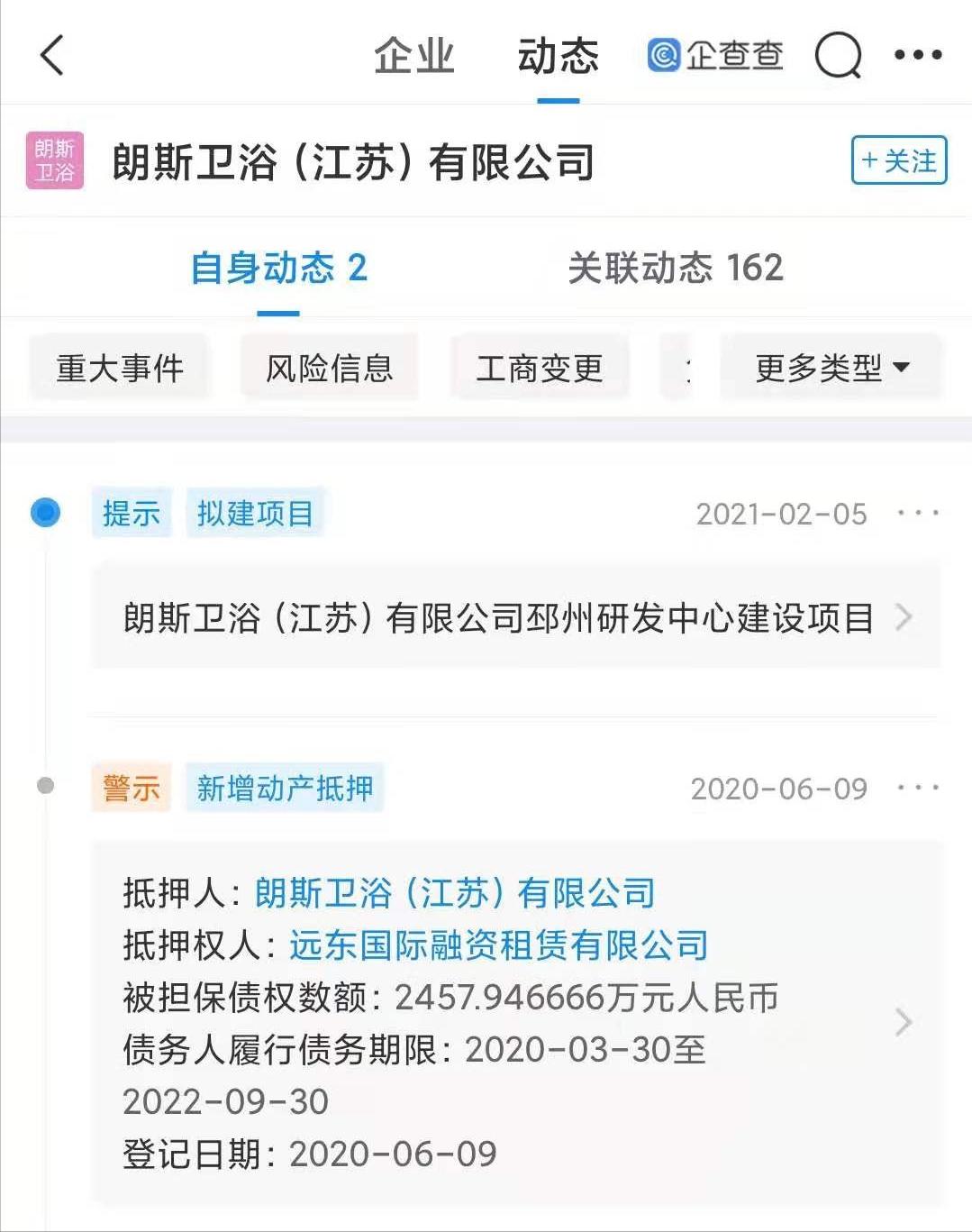 朗斯卫浴(江苏)有限公司动产抵押(数据来源:企查查)