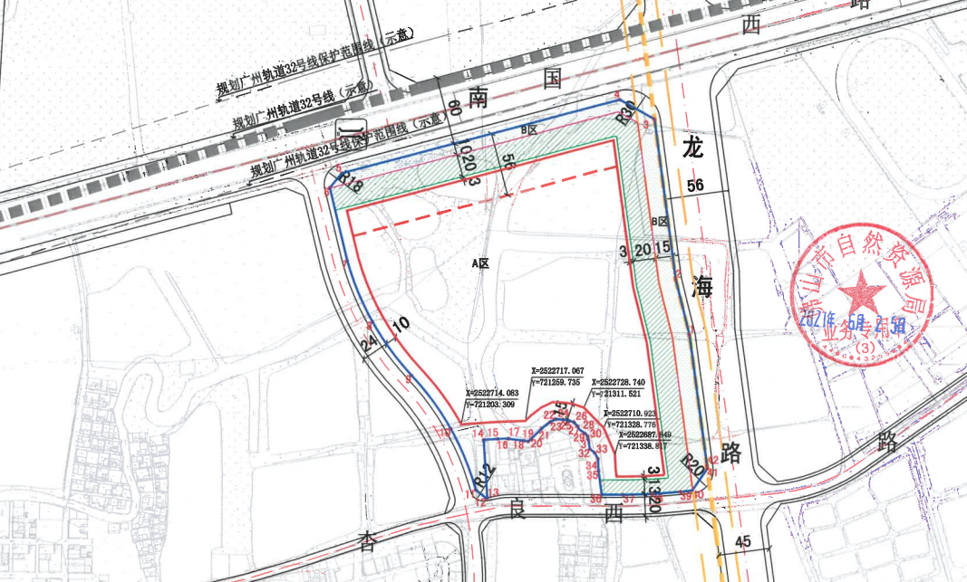 地块规划条件示意,附近有广州地铁32号线途径